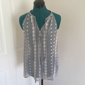 Anthropologie Sheer Embroidered Grey Blouse